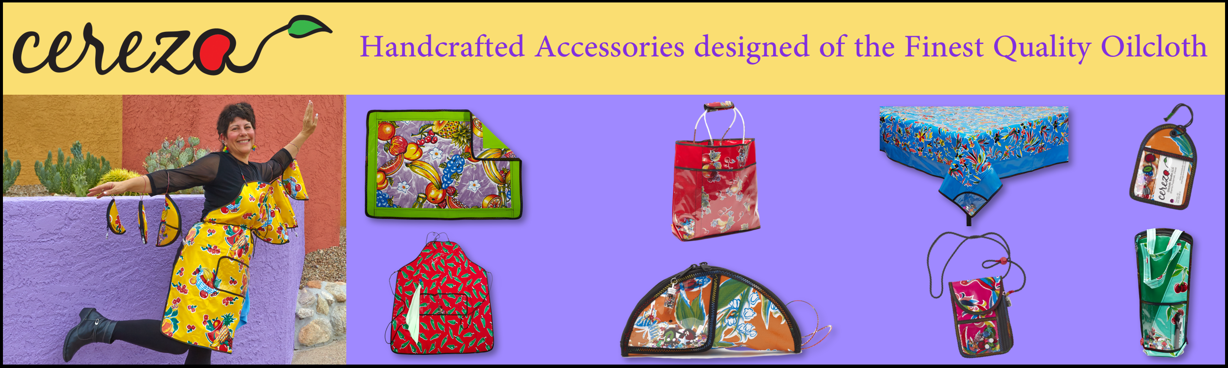 Mexican Oilcloth Aprons, Bags, Totes, Tablecloths, Placemats, Wine bottle carries and more by Cereza Oilcloth Studio.