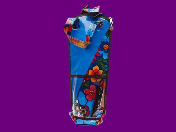 Handmade Mexican Oilcloth wine bottle carriers and tote bags.